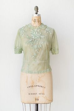 seafoam green 1930s blouse with embroidery