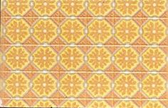 """Orange Floral Linoleum Tile Floor Floors are prefinished, and photo shows only a portion. The floors measure Approximately 10"""" x 16"""". They come with a stylus (for optional scoring, to make tiles look separate) and instructions. Tile sizes vary, but are generally 3/4"""" to 1""""."""