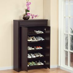 hokku designs hess studio fiveshelf shoe cabinet in red cocoa what a classy shoe storage unit you would never know it houses shoes when the doors are