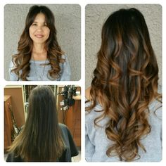 Brunette Balayage ombre Sombre