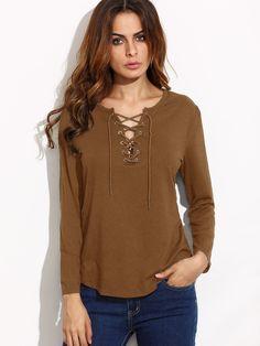 Khaki Eyelet Lace Up Curved Hem T-shirt — 0.00 € ----------------color: Khaki size: L,M,S,XL