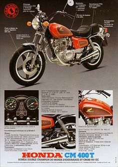 23199. - MOTORCYCLE - HONDA 1981 - CM 400 T  - Garantie 1 AN - 29x41-.
