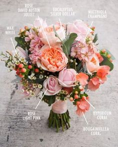 Floral Bouquet Recipes by Colour Not the biggest fan of ALL the coral. I would replace that with cream/white. BUT I love the Juliet rose, the wax flowers, and the silver dollar eucalyptus White Wedding Bouquets, Bride Bouquets, Floral Bouquets, Floral Wedding, Trendy Wedding, Purple Bouquets, Wedding Blush, Bridesmaid Bouquets, Brooch Bouquets