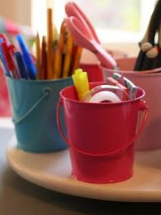 An old dish rack is perfect for keeping colouring books as well as pencils and markers within reach for the little ones.