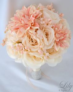 17pcs Wedding Bridal Bouquet Set Silk Flower Decoration Package PEACH IVORY Lily of Angeles.