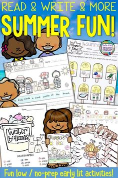 These summer language activities are perfect for the end of the school year! Low and no-prep, beach, pool, camping and BBQ themes make practicing early lit skills super fun! Literacy Skills, Early Literacy, Kindergarten Activities, Writing Skills, Classroom Activities, Literacy Centers, Kindergarten Lessons, Kindergarten Writing, End Of School Year