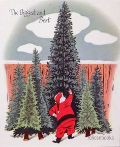 #1027 50s Norcross Santa Finds a Tree-Vintage Christmas Card-Greeting