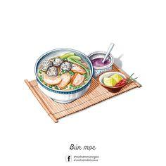 Noodle in crab soup Food Art Painting, Food Sketch, Food Cartoon, Vietnamese Recipes, Vietnamese Food, Watercolor Food, Food Drawing, Colorful Drawings, Food Illustrations