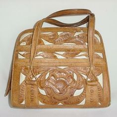 1950s Handbag Purse in Cutwork Tooled Leather
