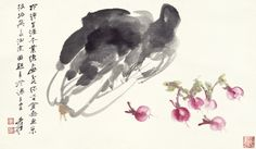 Zhang Daqian (Chang Dai-Chien, 1899-1983), CHINESE CABBAGE AND RADISHES, ink and colour on paper, 33.5 x 58 cm