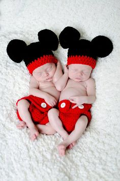 Crocheted Mickey Mouse hat and Diaper Cover by ThisanThatBoutique, $25.00