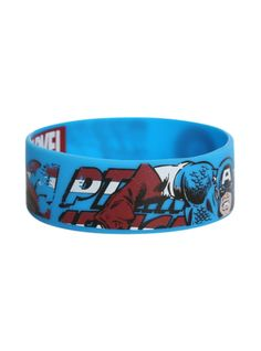 Blue rubber bracelet with classic Captain America design.