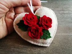 Red Floral Heart ornament with Roses, Felt Red flower ornament, Mother's Day Gift, Gift for Mom, Valentine decorations Flower Ornaments, Felt Christmas Ornaments, Heart Ornament, Felt Roses, Felt Flowers, Valentine Crafts, Christmas Crafts, Fabric Gifts, Felt Hearts