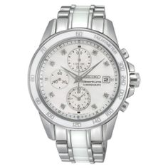 #Seiko #Women's SNDX95 Sportura #Classic Ceramic #Chronograph #Watch