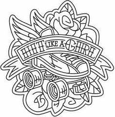 New Sport Illustration Art Roller Derby 70 Ideas Roller Derby Clothes, Roller Derby Girls, Colouring Pages, Coloring Books, Coloring Sheets, Roller Derby Tattoo, Quad, Skate Tattoo, Derby Skates