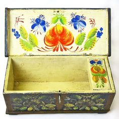 Norwegian Rosemaling Decorated Miniature Kiste or Dome Top Trunk from sweetpeacottage on Ruby Lane