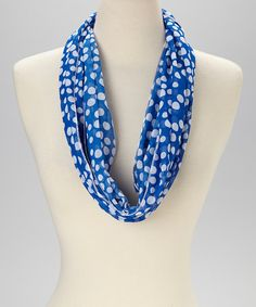Women Lightweight Soft Casual Blue White Polka Dots Pattern Infinity Scarf