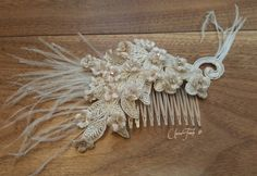 lace HairWedding Head PieceFeather Hair ClipGreat by UnionTouch