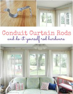 Conduit Curtain Rods and DIY Rod Hardware (tutorial) - Mad in Crafts
