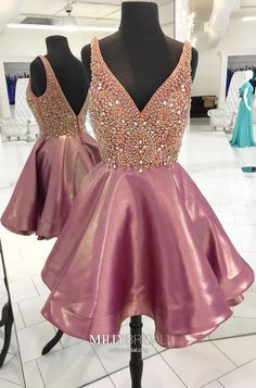 Pink Beaded Homecoming Dress,Luxury Mini Short Prom Dress,V-Neck Homecoming Dress on Luulla Cute Homecoming Dresses, V Neck Prom Dresses, Dresses Short, Pink Prom Dresses, Party Dresses, Evening Dresses, Formal Dresses, Dress Prom, Prom Gowns
