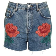 Women's Topshop Rose Embroidered Mom Shorts ($65) ❤ liked on Polyvore featuring shorts, mid denim, embroidered denim shorts, denim cut offs, cutoff shorts, denim cut-off shorts and embroidered shorts