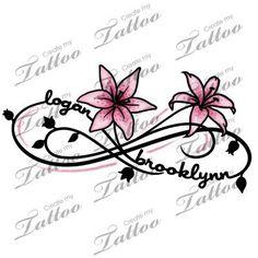 Two Kid's Names Foot Tattoo   logan+brooklynn+lily
