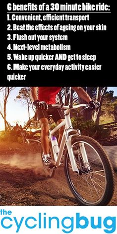 6 BENEFITS OF A 30 MINUTE BIKE RIDE: http://thecyclingbug.co.uk/health-and-fitness/training-tips/b/weblog/archive/2014/07/30/6-benefits-of-a-30-minute-bike-ride.aspx?utm_source=Pinterest&utm_medium=Pinterest%20Post&utm_campaign=ad #thecyclingbug #cycling #bike #health #wellness