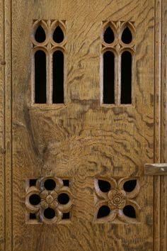 Hand carved tracery decoration in our Gothic Aumbry, made to order in solid oak, with a special, aged finish. By Stuart Interiors. Medieval Furniture, Hand Carved, Hand Painted, Coffer, Medieval Fashion, Panelling, Wedding Boxes, Moulding, Middle Ages