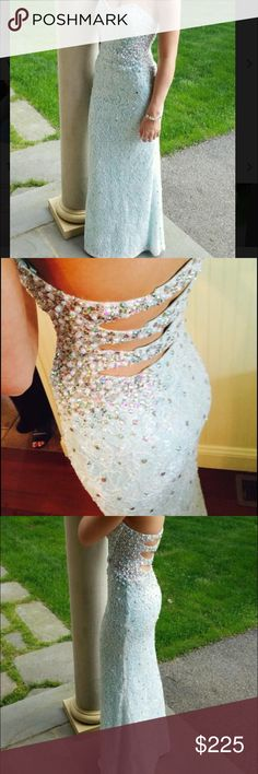 "Light blue laced prom dress Beautiful aqua blue laced strapless prom dress size 00! Hemmed to fit 5'4"" only worn once La Femme Dresses Prom"