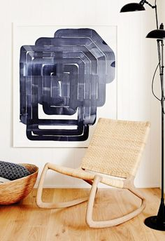 Woven chair with abstract art