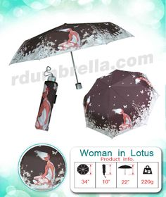 Alu Fiber - 3 folding [Woman in lotus] Product info. Length when folded 10 inches, Height 22 inches(Including the handle), Width 34 inches(When unfolded), Weight 220 g.