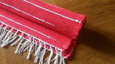 Rag Rug Handmade Red Rug with White stripes Handwoven