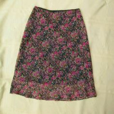 "Floral Pencil Skirt Light & flowy Comfy elastic waist. Sheer floral print over slightly shorter black lining. Measured flat 14"" across waist 23"" long Knee length on 5' 10"" GAS Skirts Pencil"