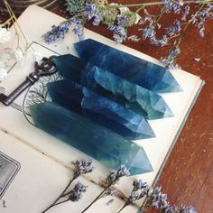 """approximately 3.5-4"""" chosen randomly listing is for one crystal.  color and size will vary slightly   Blue Fluorite brings a calm, rational energy to the system, promoting orderly, sequential thoughts and enabling one to direct the brain's activities toward an intended purpose. Attuned to the..."""