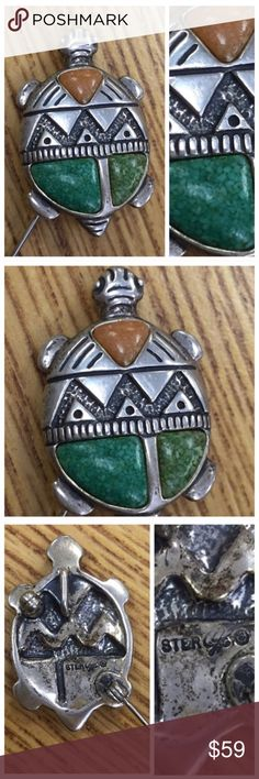 "Vintage Southwestern Native America Brooch, Pin Vintage Southwestern Native America Pin or Necklace  Sterling Silver & turquoise stone  Great quality sterling, very solid piece.   Excellent condition  1"" long X 3/4"" wide Vintage Jewelry Brooches"
