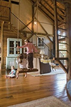 Barn converted home.  My nieces and nephews would love that indoor swing!