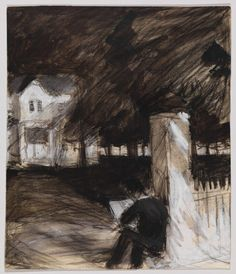 Edward Hopper, Study of a Man Sketching in Front of a House, c. 1900