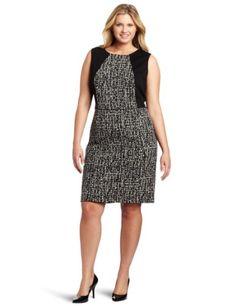 Calvin Klein Women's Plus-Size Sleeveless Seamed Dress, Black/Winter White, 20W