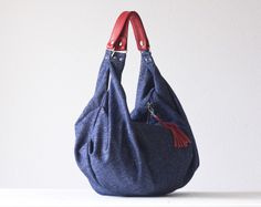 Kallia in blue  wool and red leather from Handmade Bags by Milloo by DaWanda.com
