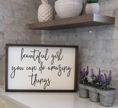 Beautiful Girl You Can Do Amazing Things | Wood Signs Sayings | Nursery Kids Room Decor | Farmhouse Decor | Farmhouse Style | Fixer Upper