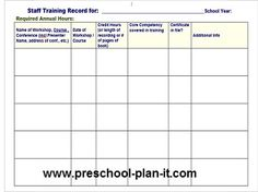 Preschool staff evaluations: This will help your teachers (and you!) keep track of any trainings they attend throughout the year.