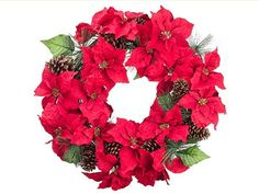 """30"""" Artificial Poinsettia Blooms and Pine Cone Floral Christmas Wreath"""