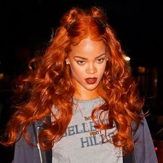 Hair Colours 2016: Get Inspiration For Your Dye Job From The Coolest Celebrity Shades - Rihanna's Flame-Hued Tresses from InStyle.com