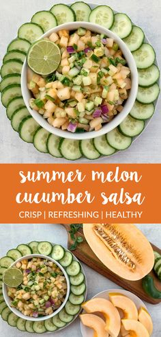 Melon Cucumber Salsa is crisp, refreshing, and flavorful! It comes together with fresh melon, cucumber, red onion, jalapeño, lime juice, and cilantro. Perfect for summer!