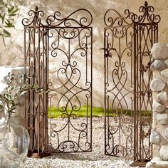 Unique-metal-garden-gates-two-wings-wrought-iron-garden-gate-stone-pillar ., Unique-metal-garden-gates-two-wings-wrought-iron-garden-gate-stone-pillar # garte Though old within notion, a pergola have been enduring somewhat. Wrought Iron Garden Gates, Garden Gates And Fencing, Iron Gates, Iron Doors, Metal Pergola, Pergola Patio, Pergola Plans, Pergola Kits, Pergola Ideas
