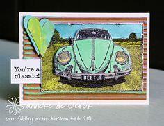 Card by Anneke De Clerck using Darkroom Door VW Beetle Photo Stamp