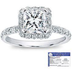 1 Carat Certified Diamond 14K White Gold Princess Cut Ring