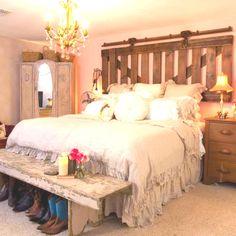 barn door headboard love it/ looks like my bed but mine is HIGHER