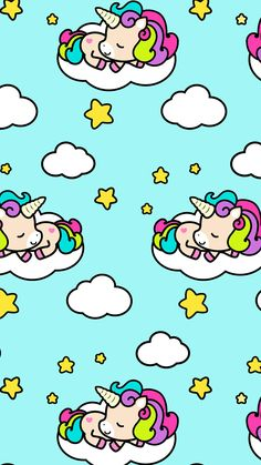 #unicorn, clouds, stars, #cute #wallpaper