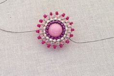 How to stitch around the outside of a round bead using brick stitch.